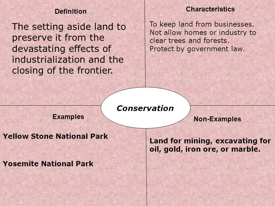 Characteristics Definition. The setting aside land to preserve it from the devastating effects of industrialization and the closing of the frontier.