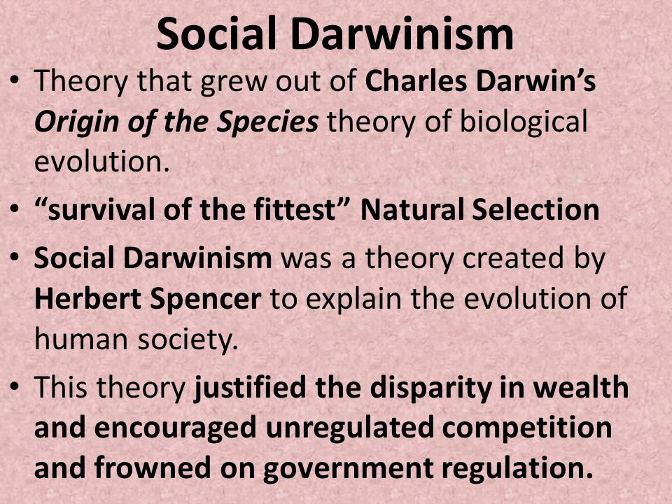 Social Darwinism Theory that grew out of Charles Darwin's Origin of the Species theory of biological evolution.