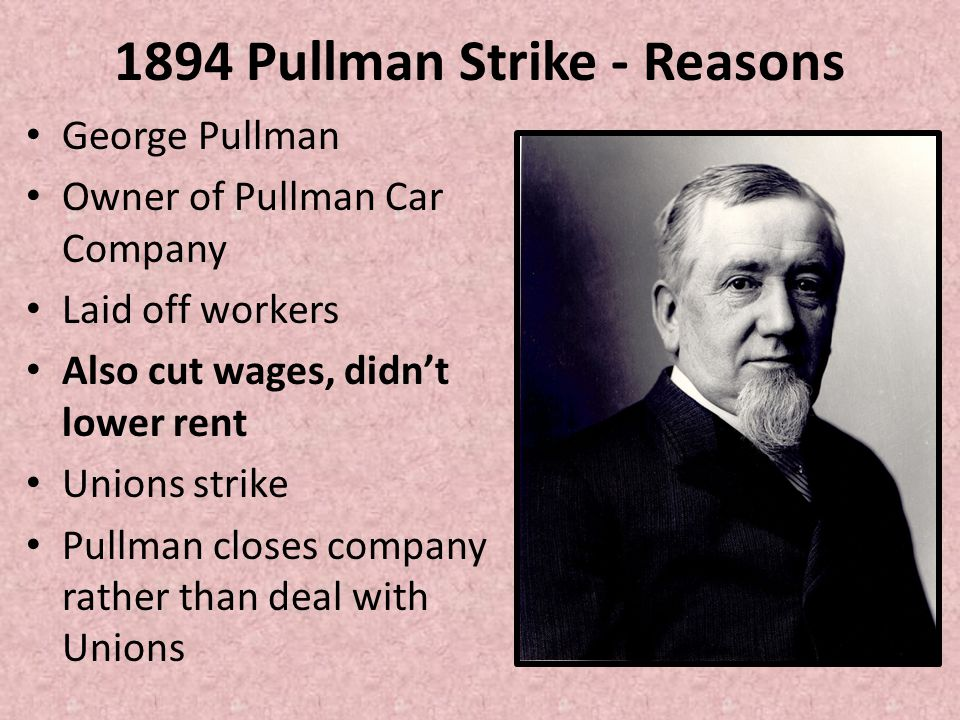 1894 Pullman Strike - Reasons