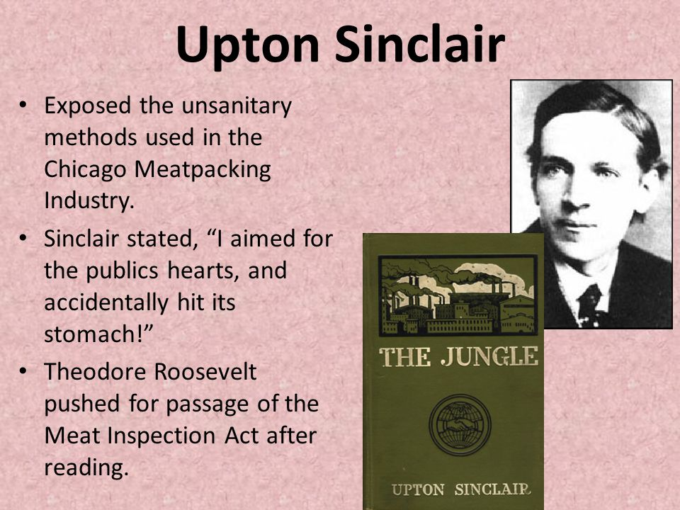 Upton Sinclair Exposed the unsanitary methods used in the Chicago Meatpacking Industry.