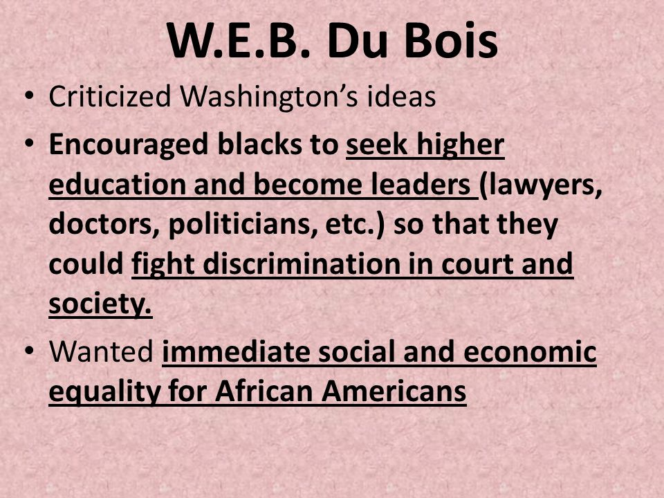 W.E.B. Du Bois Criticized Washington's ideas
