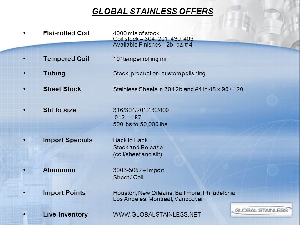 GLOBAL STAINLESS OFFERS