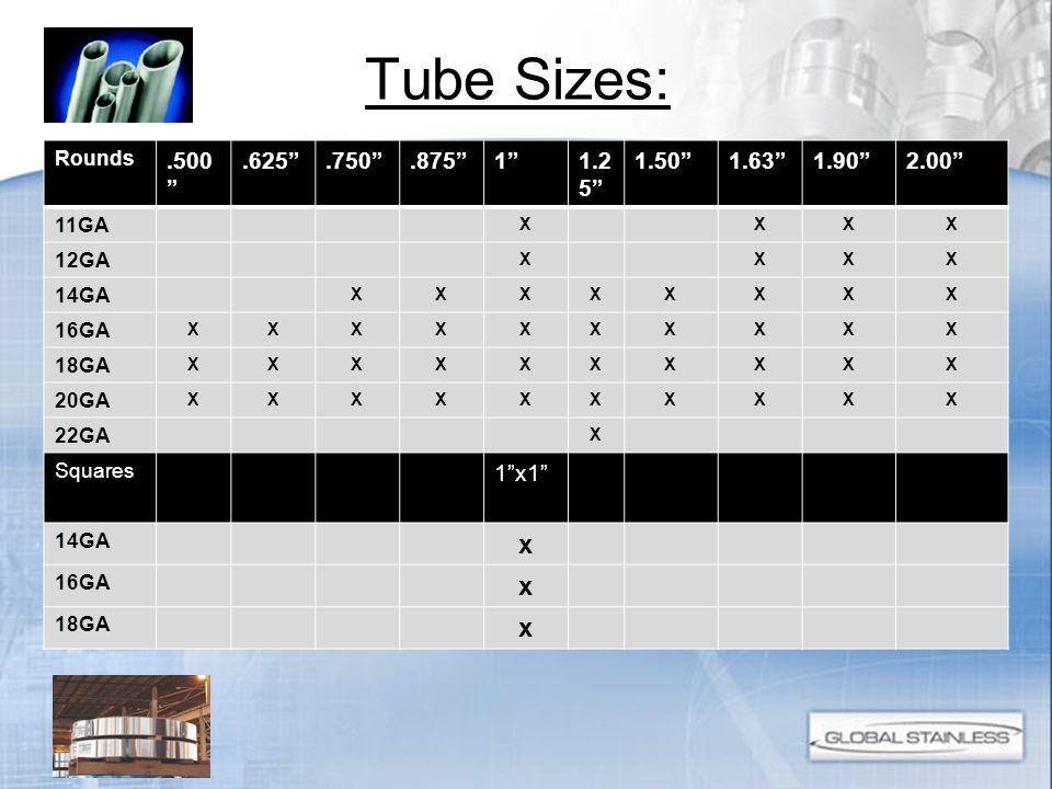 Tube Sizes: X x .500 .625 .750 .875 1 1.25 1.50 1.63 1.90