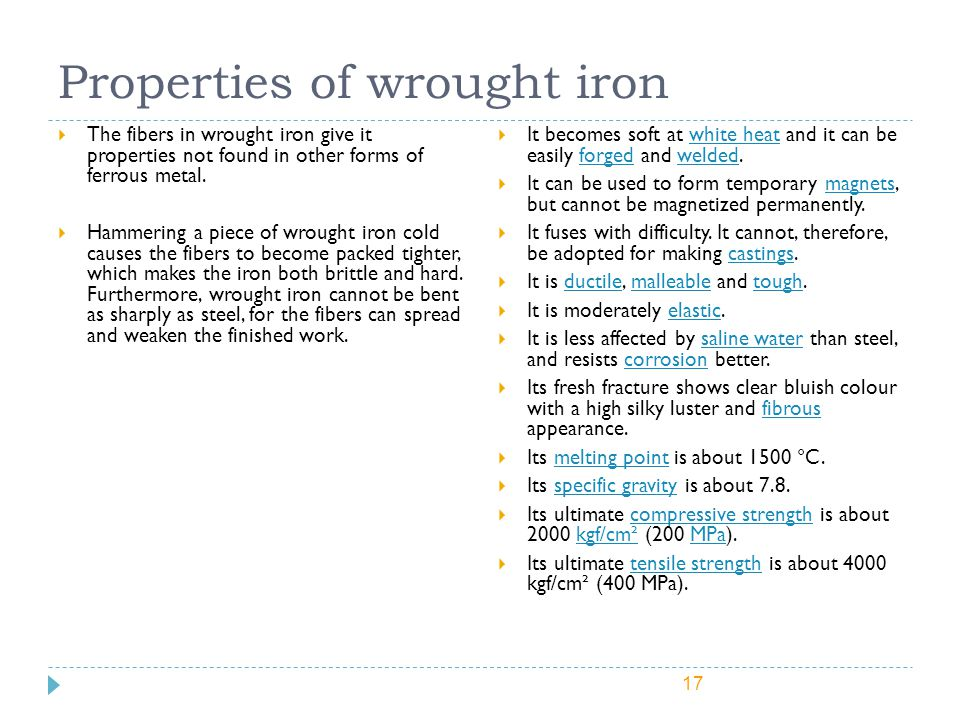 Properties of wrought iron