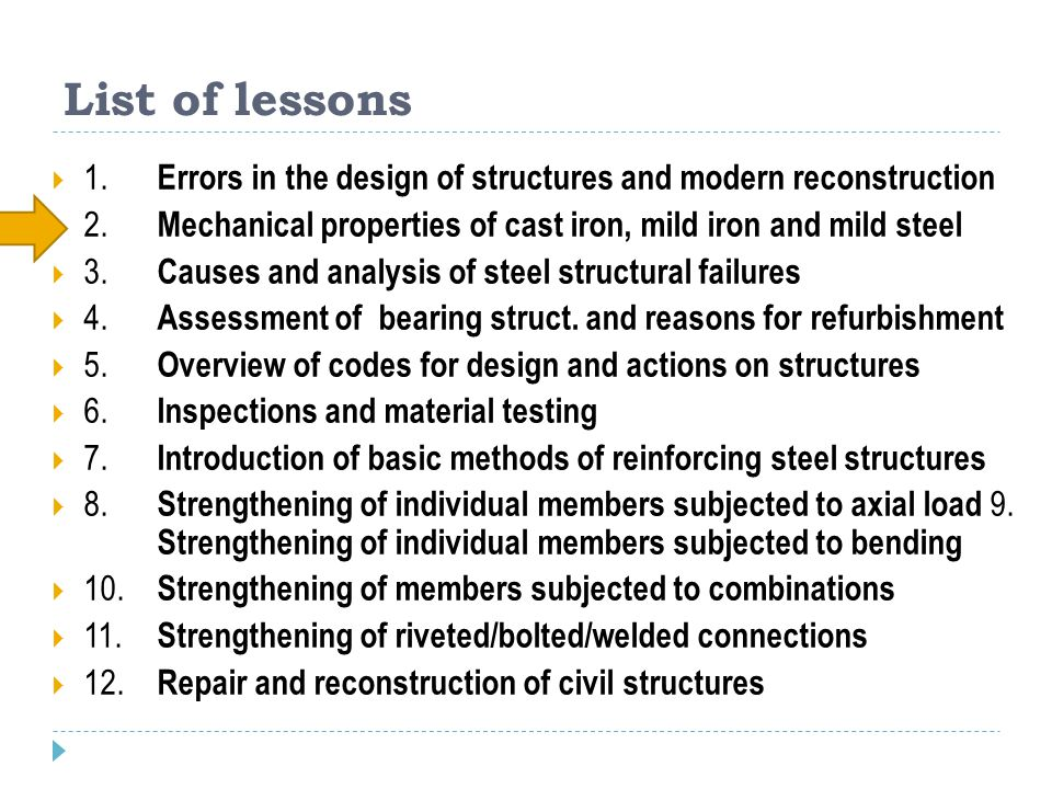 List of lessons 1. Errors in the design of structures and modern reconstruction. 2. Mechanical properties of cast iron, mild iron and mild steel.