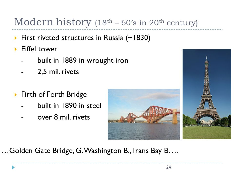 Modern history (18th – 60's in 20th century)