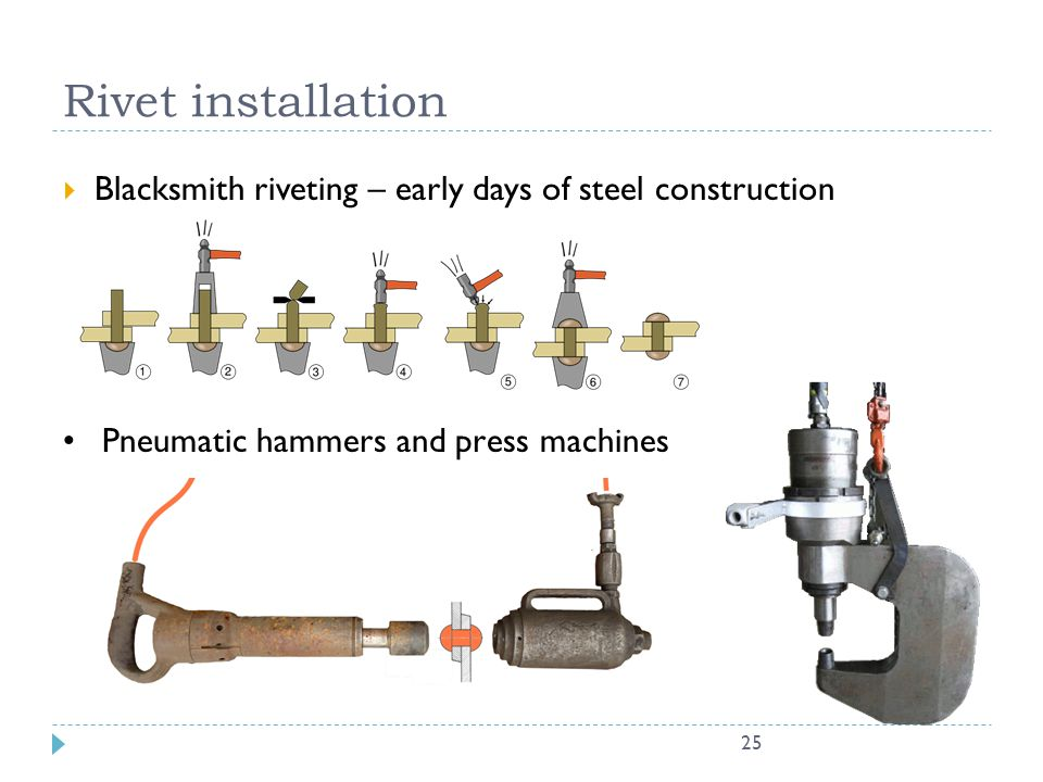 Rivet installation Blacksmith riveting – early days of steel construction. Pneumatic hammers and press machines.