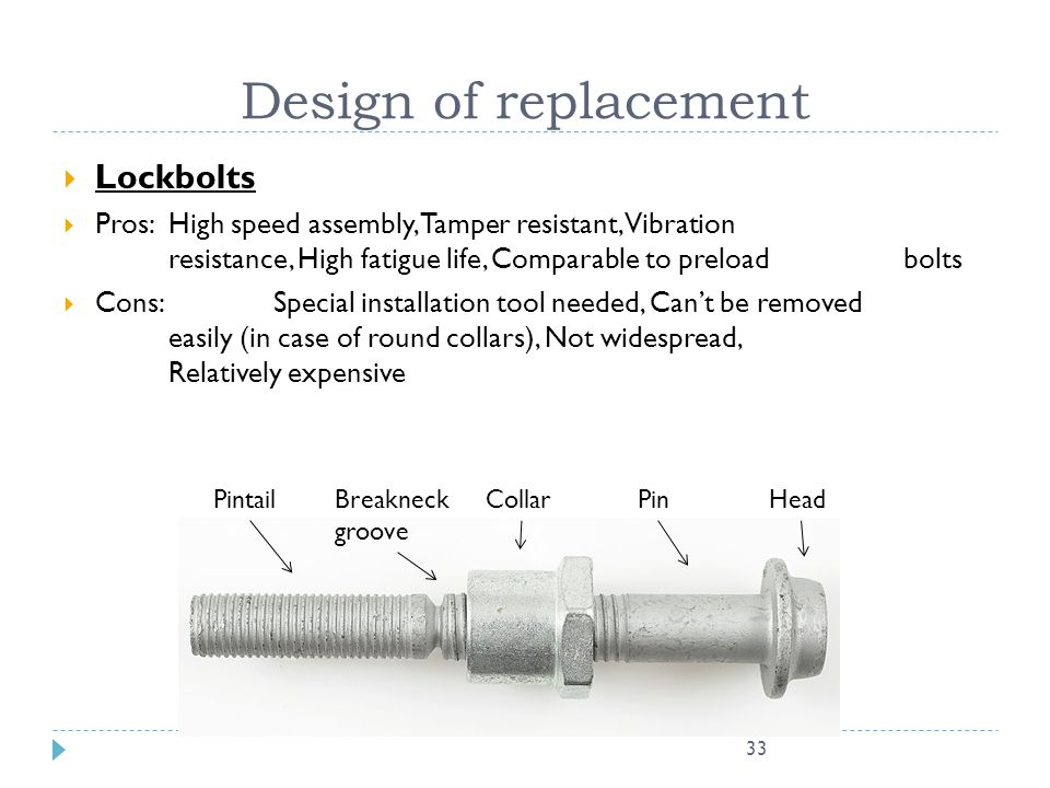 Design of replacement Lockbolts