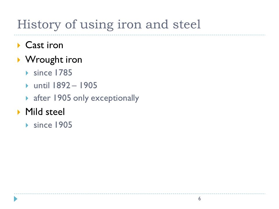 History of using iron and steel