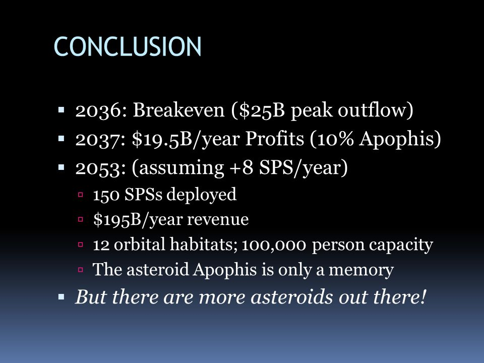 CONCLUSION 2036: Breakeven ($25B peak outflow)
