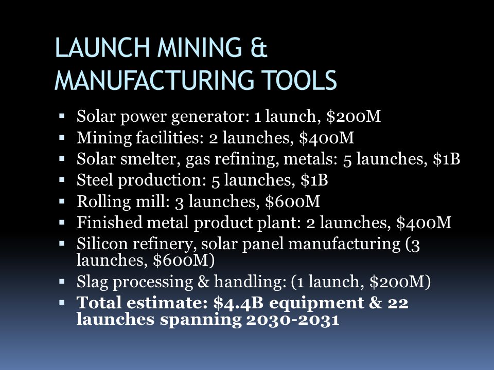LAUNCH MINING & MANUFACTURING TOOLS