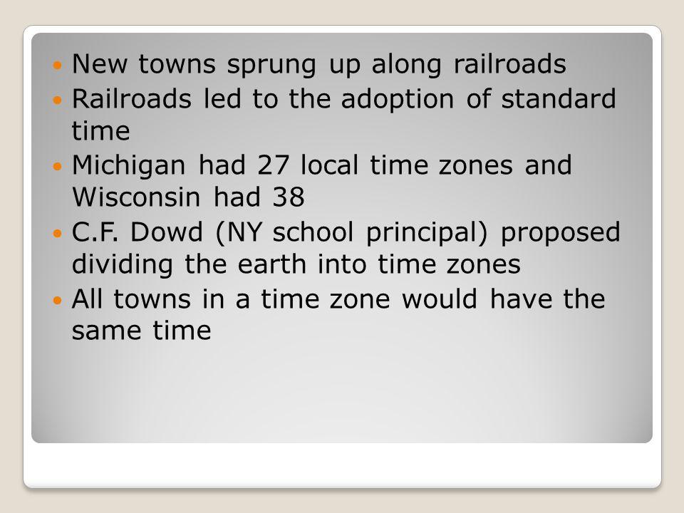 New towns sprung up along railroads