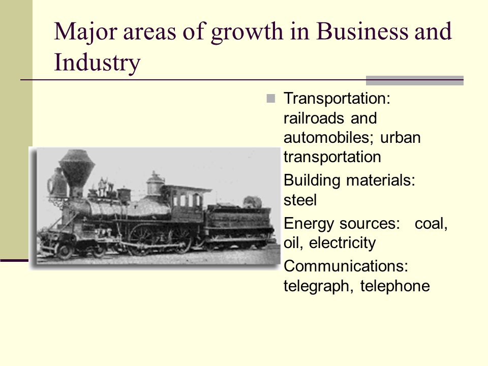 Major areas of growth in Business and Industry