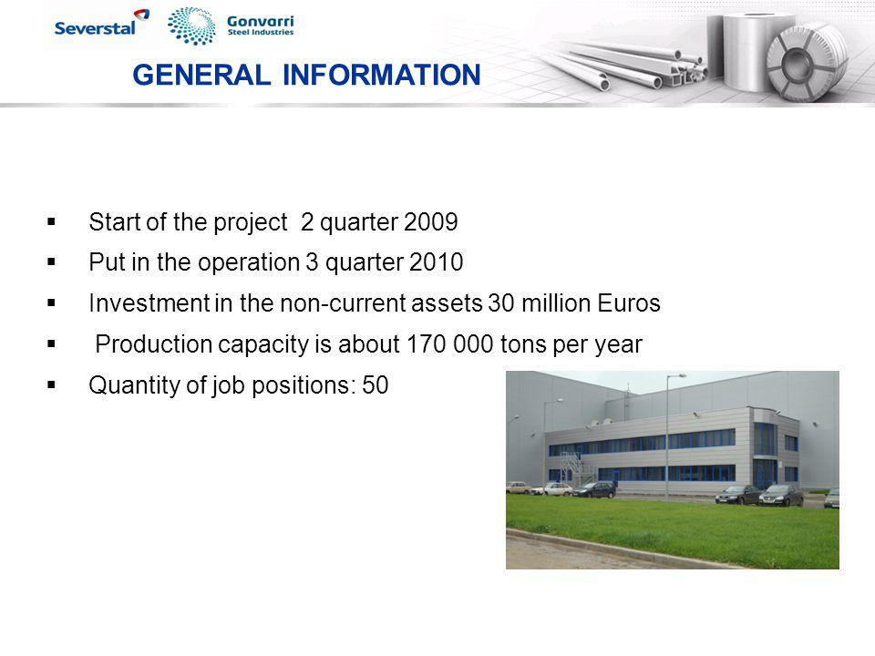 GENERAL INFORMATION Start of the project 2 quarter 2009