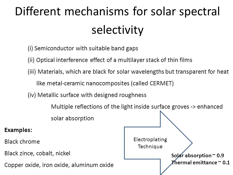 Different mechanisms for solar spectral selectivity