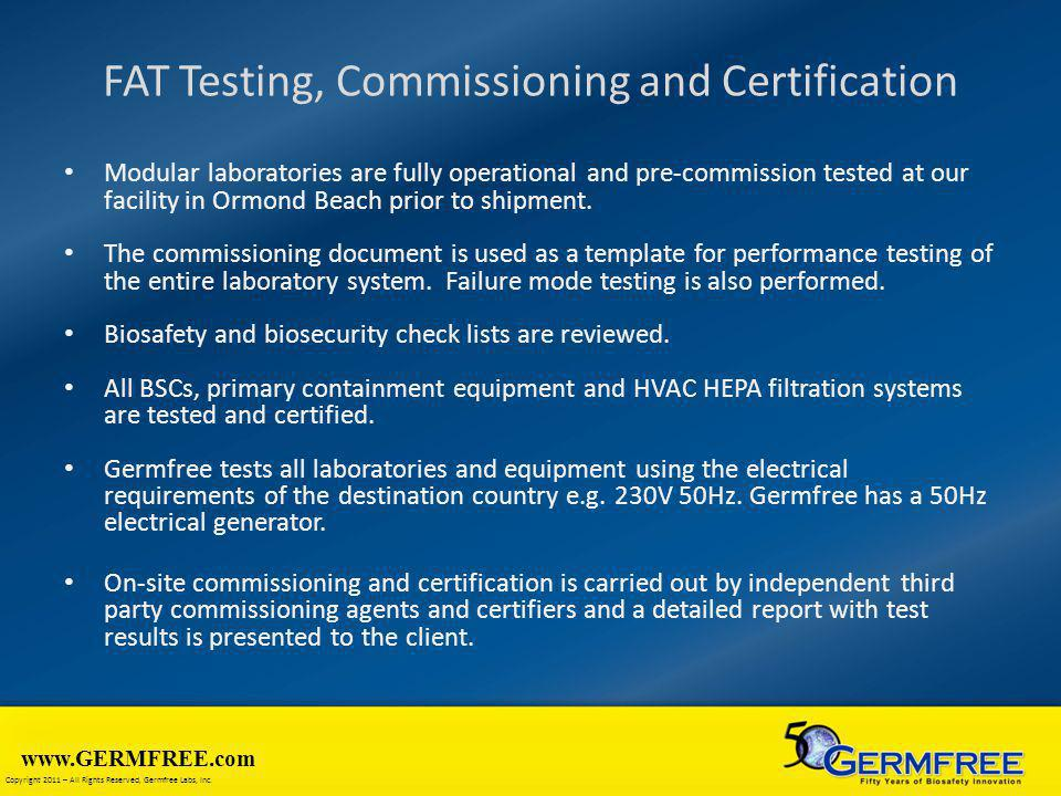 FAT Testing, Commissioning and Certification