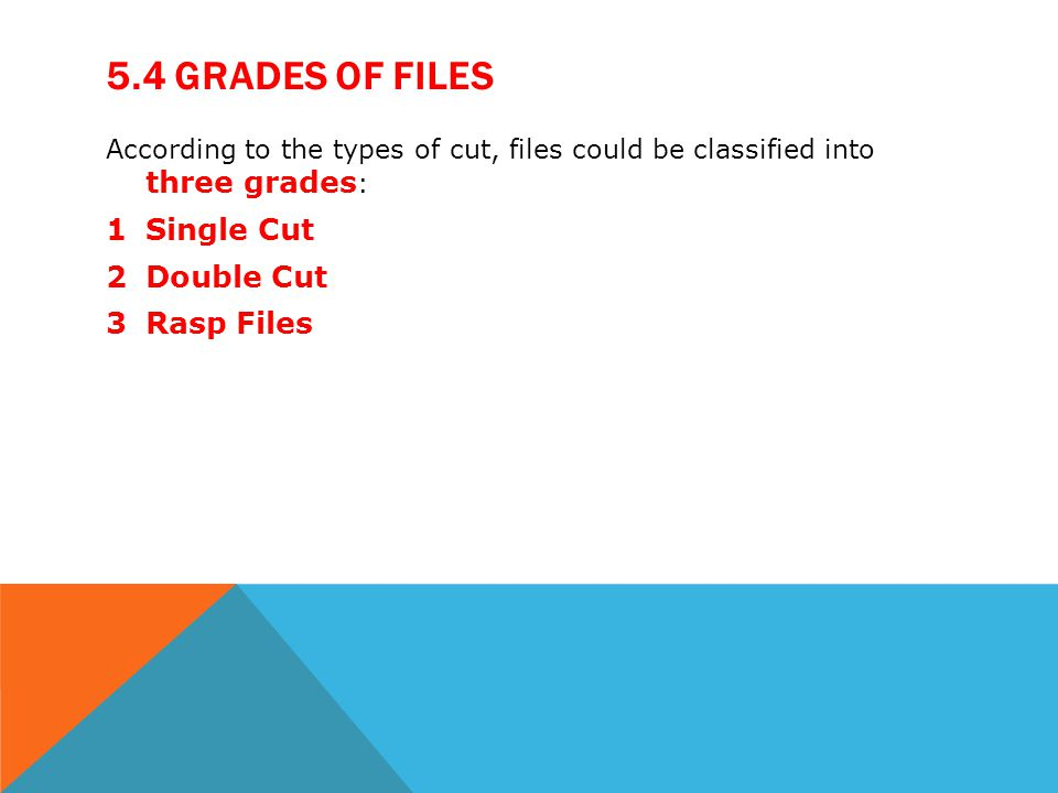 5.4 Grades of files Single Cut Double Cut Rasp Files