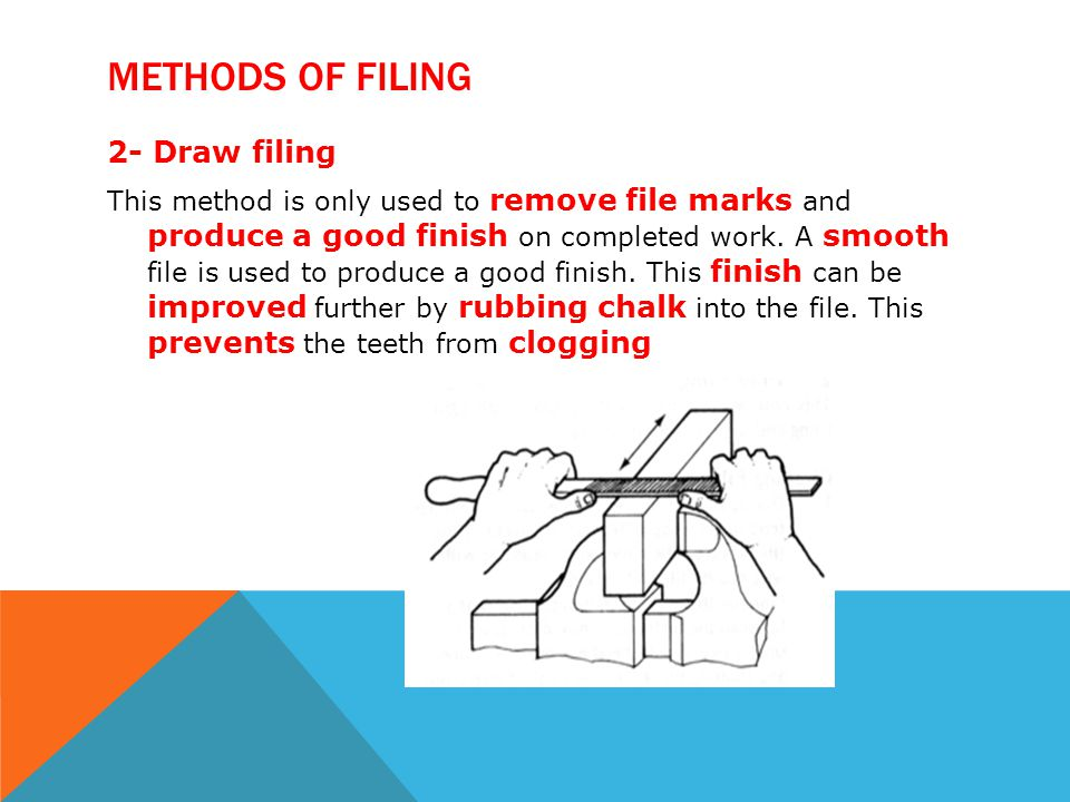 Methods of filing 2- Draw filing