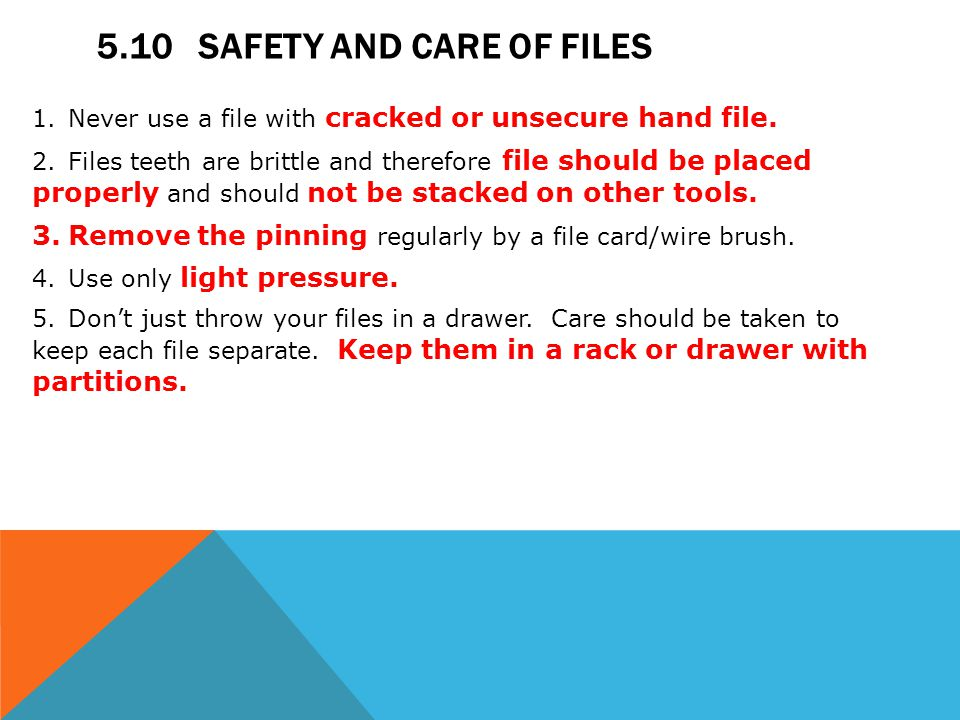 5.10 Safety and Care of Files