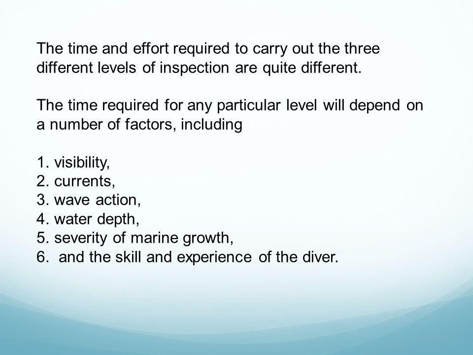 The time and effort required to carry out the three different levels of inspection are quite different.