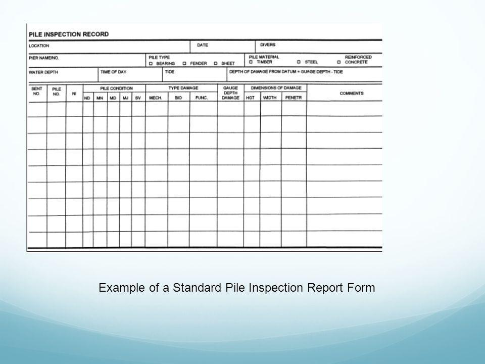 Example of a Standard Pile Inspection Report Form