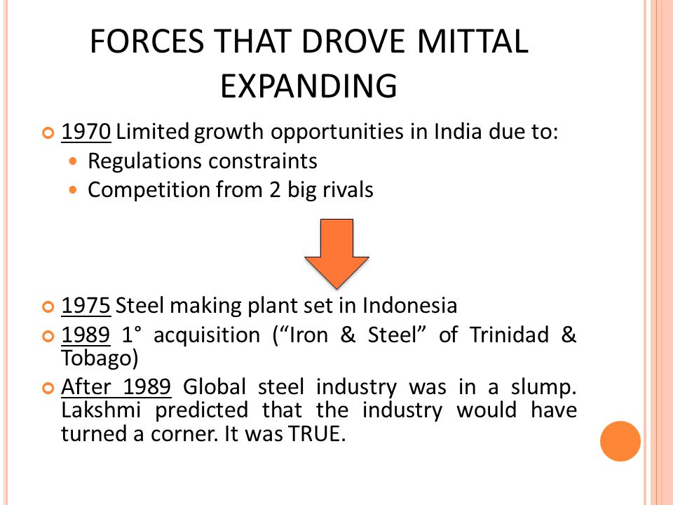 FORCES THAT DROVE MITTAL EXPANDING