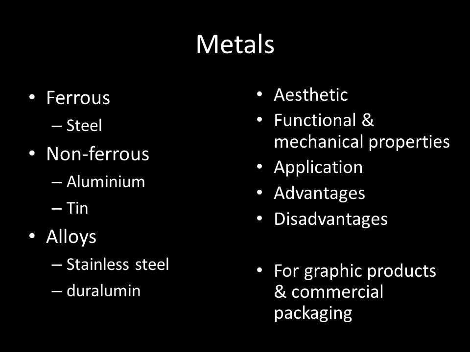 Metals Ferrous Non-ferrous Alloys Aesthetic
