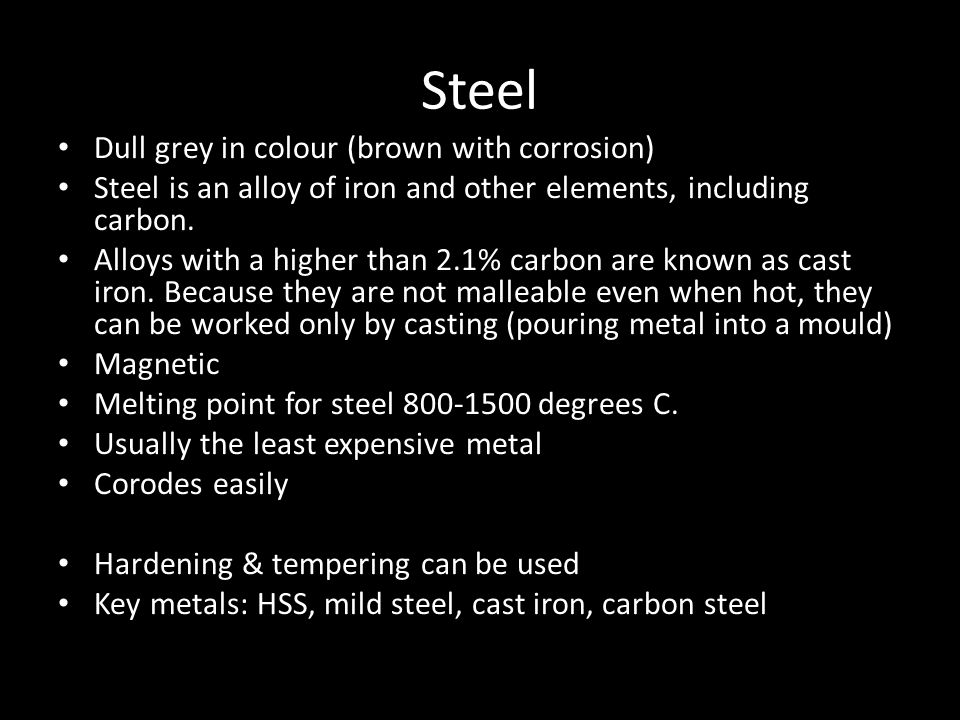 Steel Dull grey in colour (brown with corrosion)