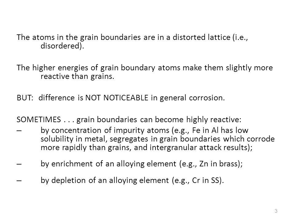 The atoms in the grain boundaries are in a distorted lattice (i. e