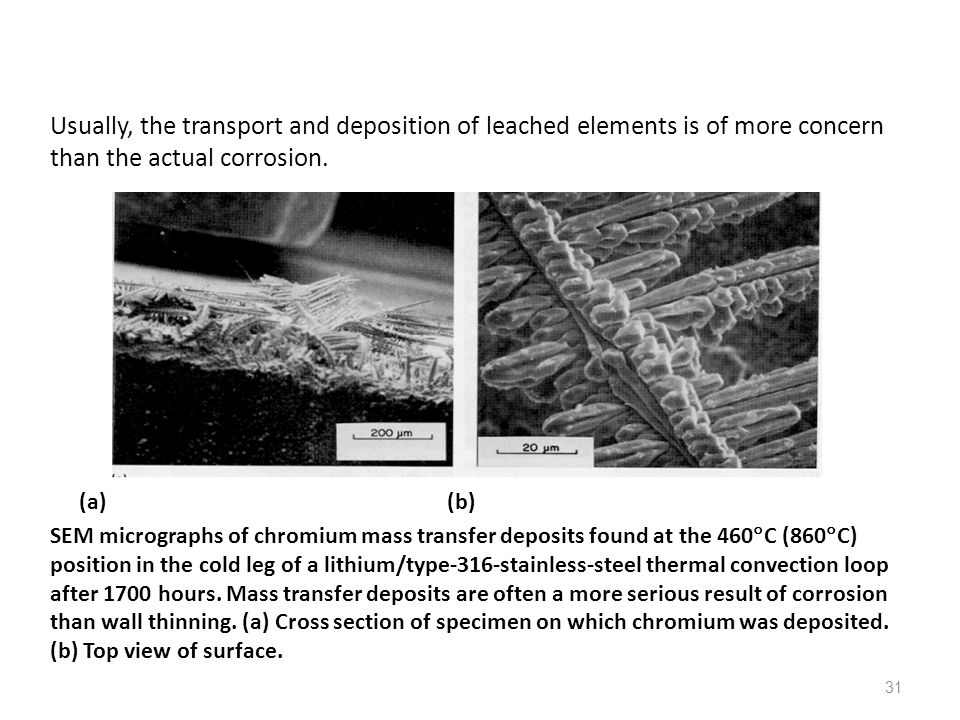 Usually, the transport and deposition of leached elements is of more concern than the actual corrosion.
