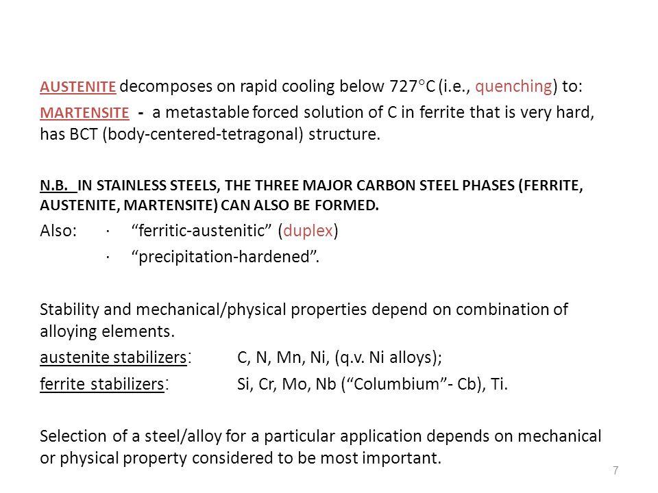 Also: ∙ ferritic-austenitic (duplex) ∙ precipitation-hardened .