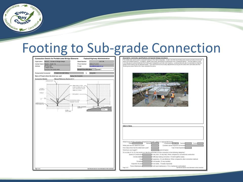 Footing to Sub-grade Connection