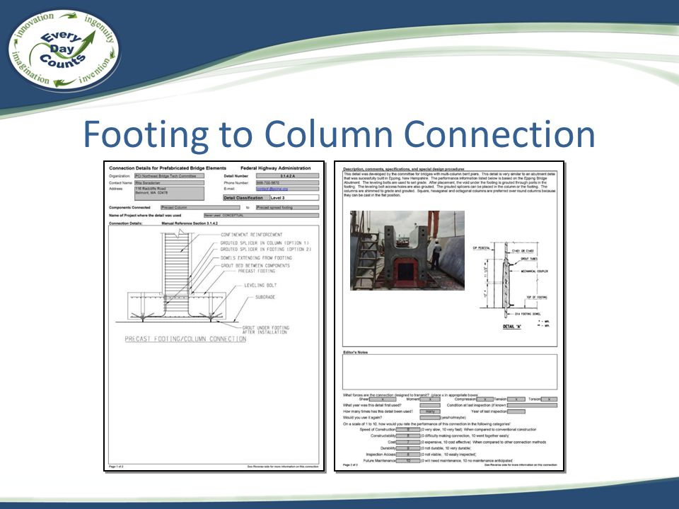 Footing to Column Connection