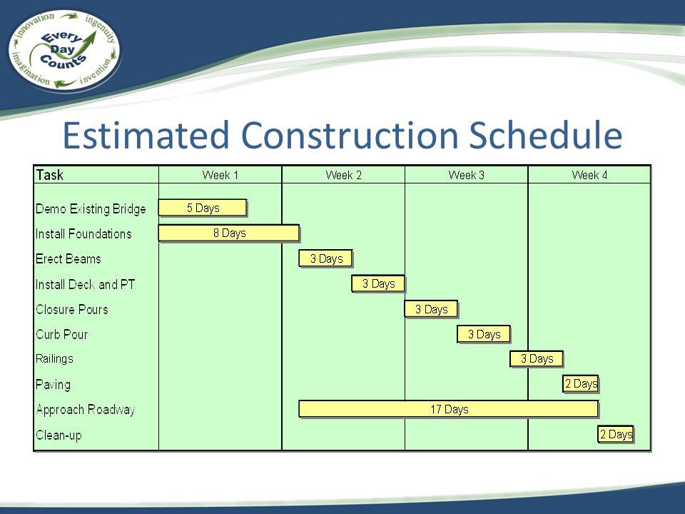 Estimated Construction Schedule