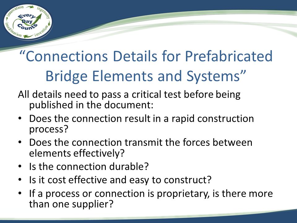 Connections Details for Prefabricated Bridge Elements and Systems