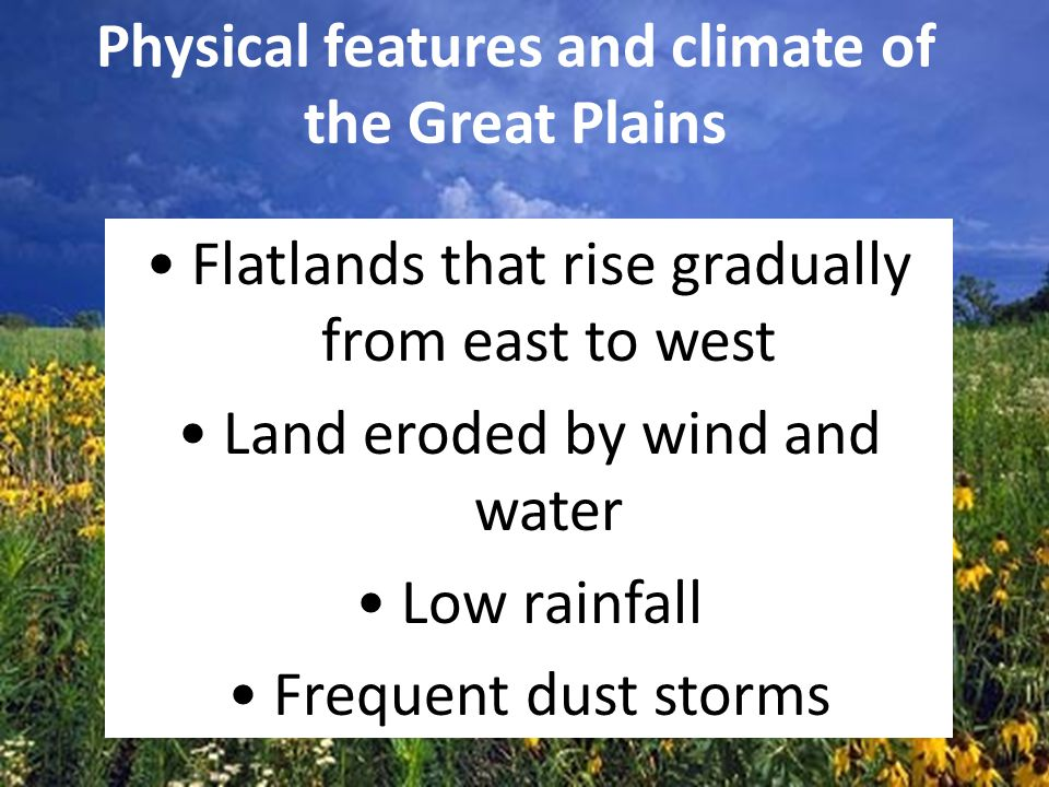 Physical features and climate of the Great Plains