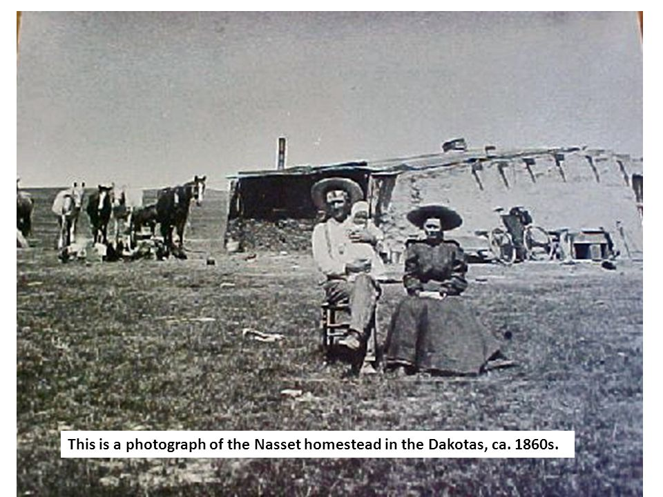 This is a photograph of the Nasset homestead in the Dakotas, ca. 1860s.