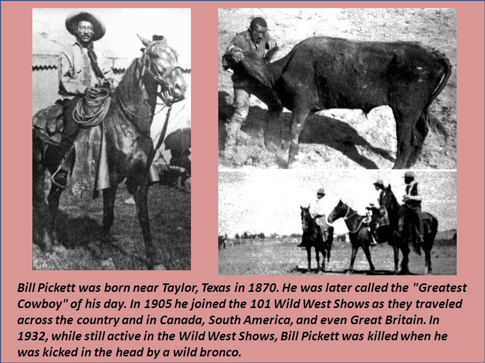 Bill Pickett was born near Taylor, Texas in 1870