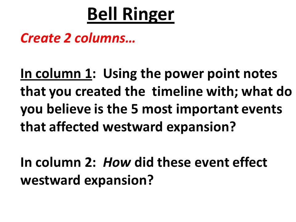 Bell Ringer Create 2 columns…