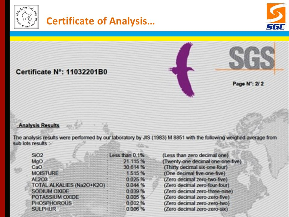 Certificate of Analysis…