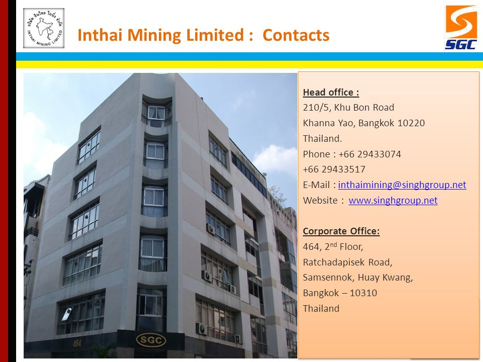 Inthai Mining Limited : Contacts