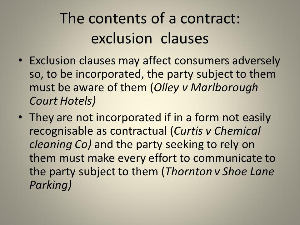 The contents of a contract: exclusion clauses