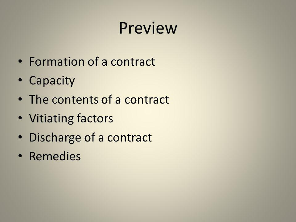 Preview Formation of a contract Capacity The contents of a contract