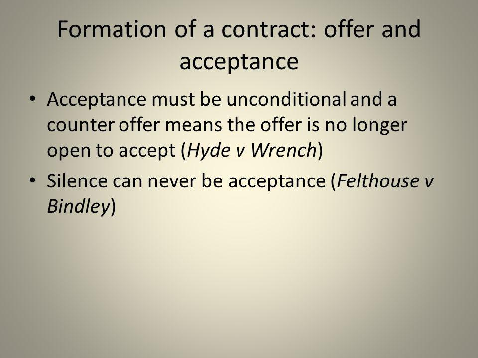 Formation of a contract: offer and acceptance