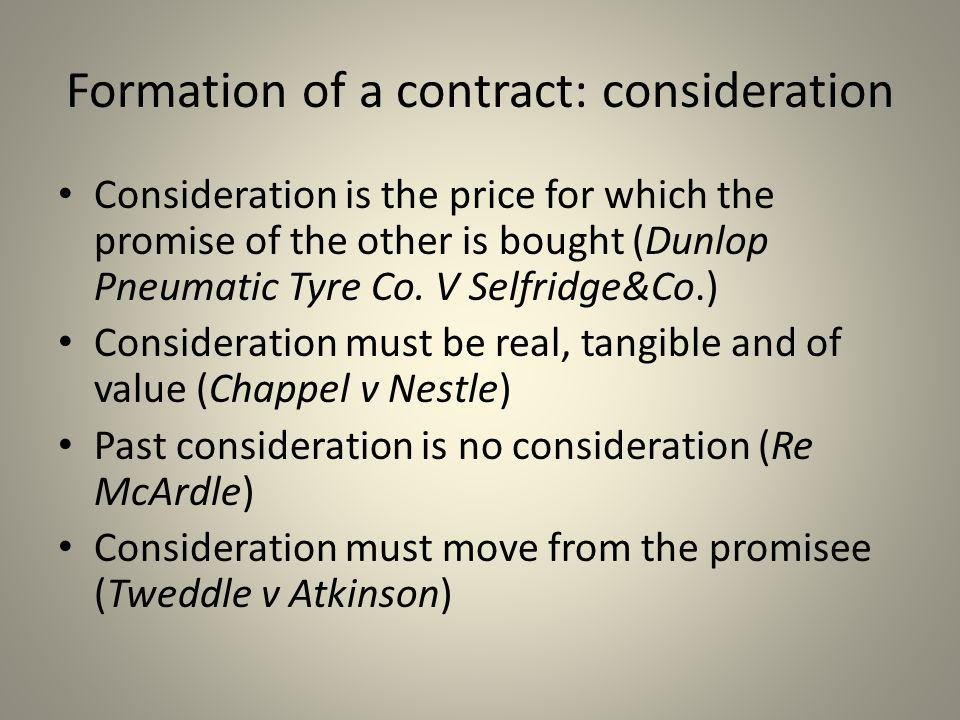 Formation of a contract: consideration