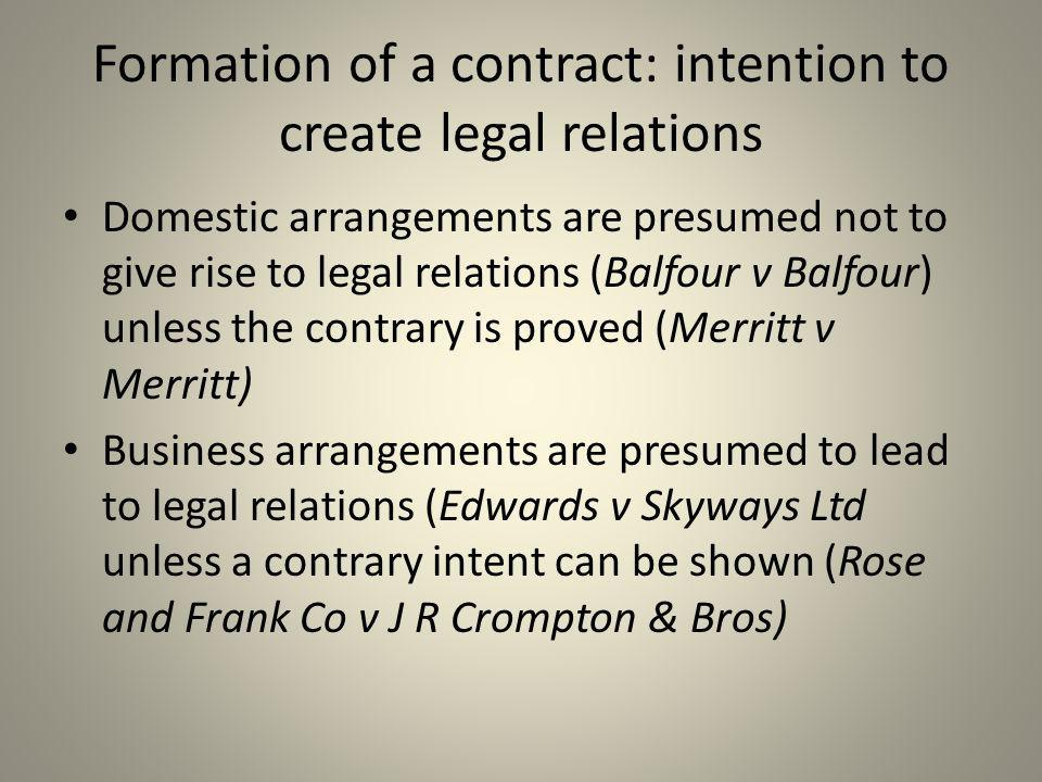 Formation of a contract: intention to create legal relations