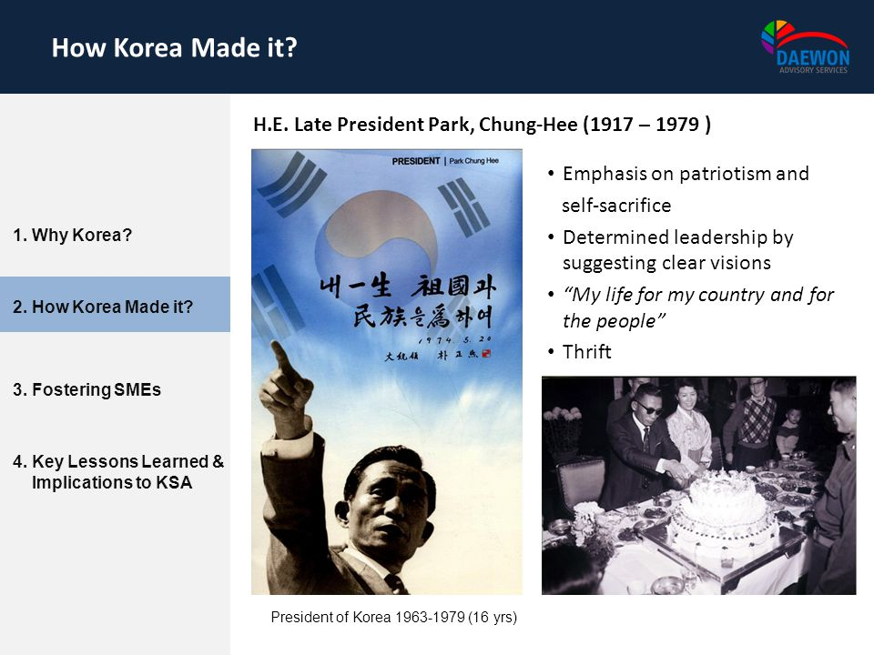 How Korea Made it H.E. Late President Park, Chung-Hee (1917 – 1979 )