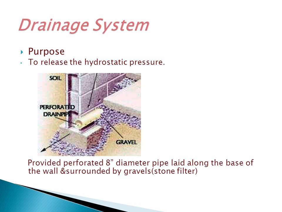 Drainage System Purpose To release the hydrostatic pressure.