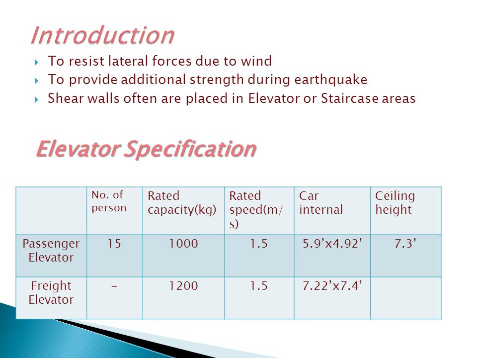 Introduction Elevator Specification