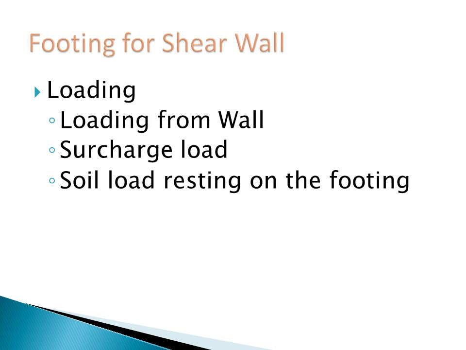 Footing for Shear Wall Loading Loading from Wall Surcharge load